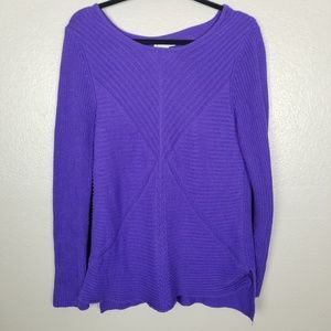 Dana Buchman Purple Chunky Knit Sweater L